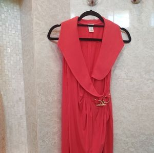Cache red orange mock wrap dress Small